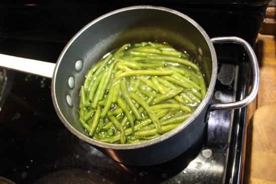 Whole Kilo (2 pounds) of green beans. I will save half for later in the week.